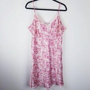 adonna plus size 1x pink floral lace trim intimate